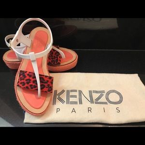 Kenzo Leopard Print Diletta Wedge Sandals